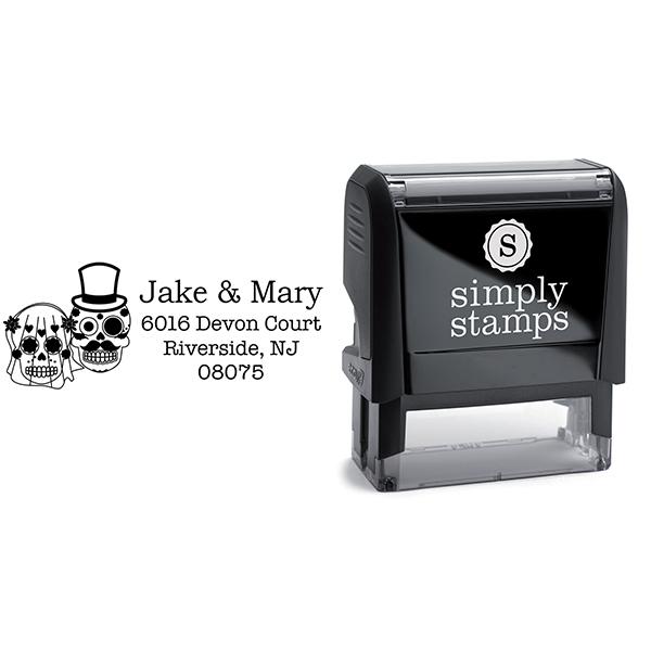 Sugar Skull Bride Groom Address Stamp Body and Design