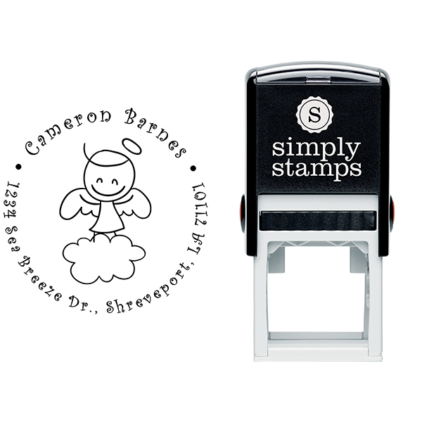 Smiley Angel Return Address Stamp Body and Design