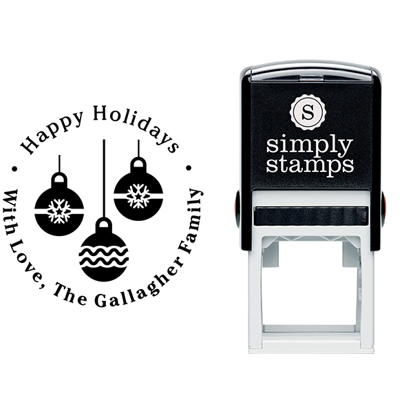 Three Christmas Ornaments Return Stamp Body and Design