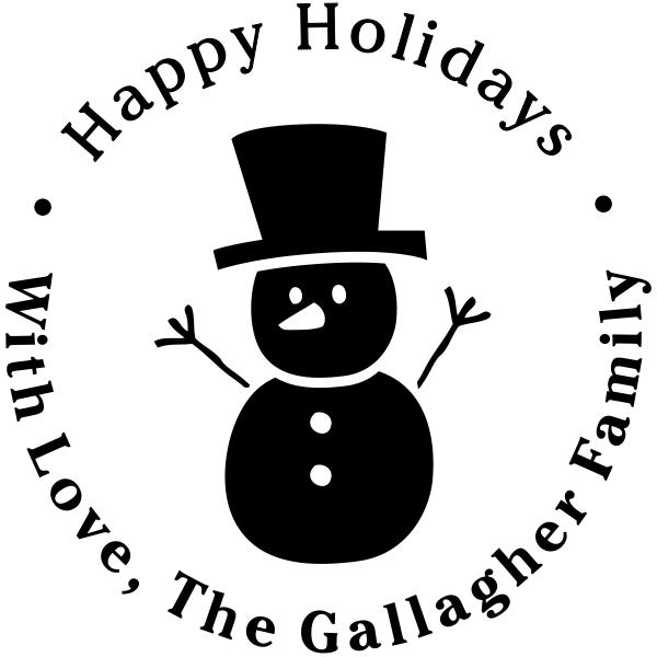 Happy Snowman Custom Return Address Stamper