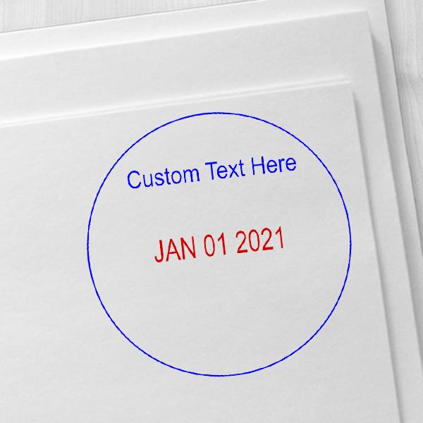 Custom Top Line Round Dater Imprint Example