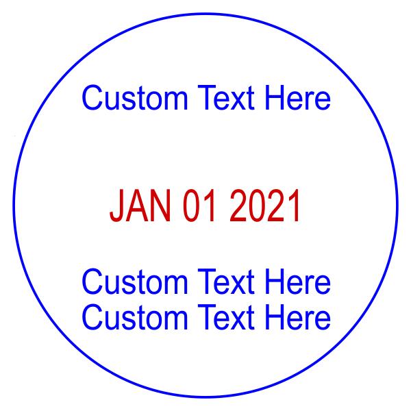 Custom 1 Line Top 2 Line Bottom Round Dater