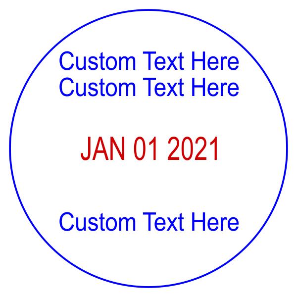 Custom 2 Line Top 1 Line Bottom Round Dater