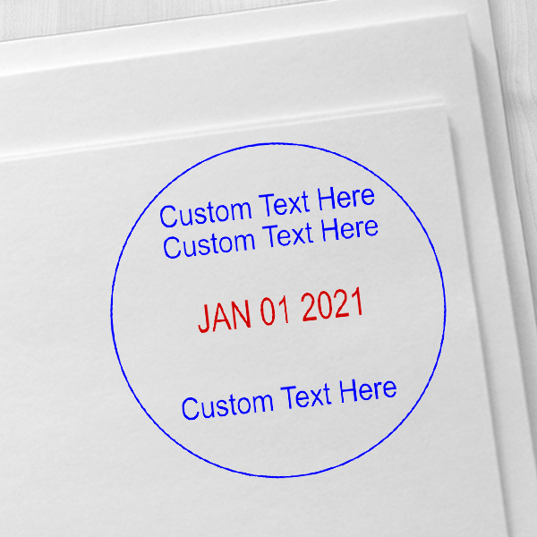 2 Line Top 1 Line Bottom Round Dater Stamp Imprint Example