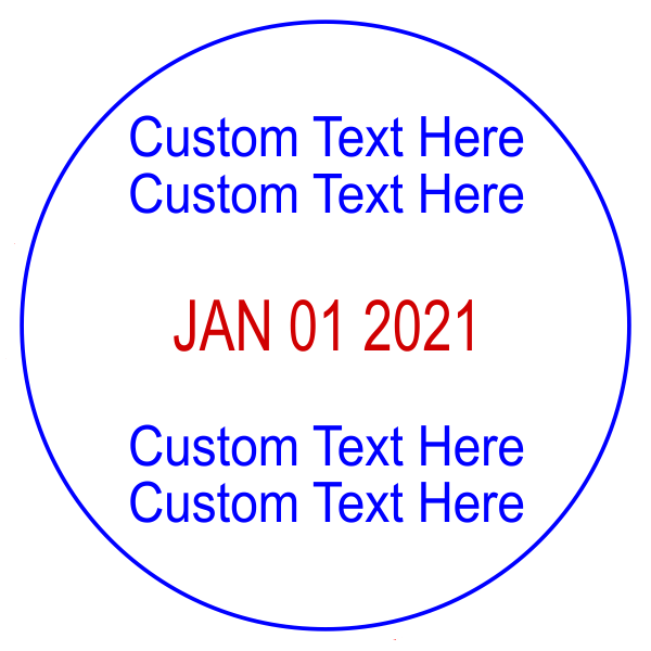 Custom 2 Line Top 2 Line Bottom Round Dater