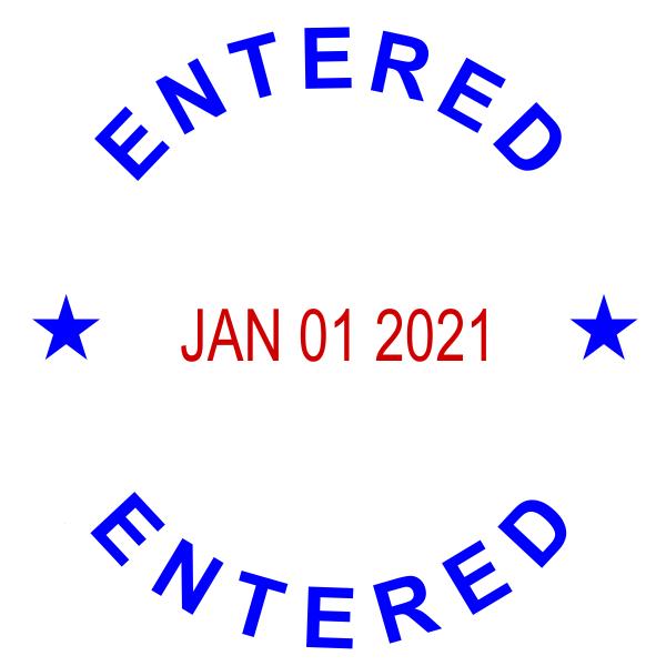 Custom Round Self-Inking Dater Entered Stamp