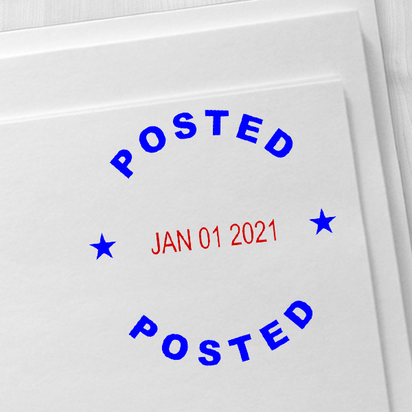 Round Self-Inking Dater Posted Stamp Imprint Example