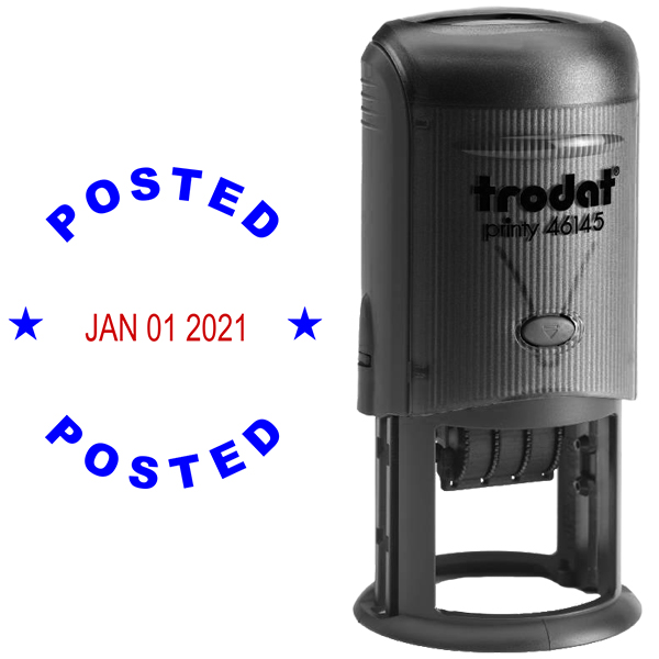 Round Self-Inking Dater Posted Stamp Body and Design
