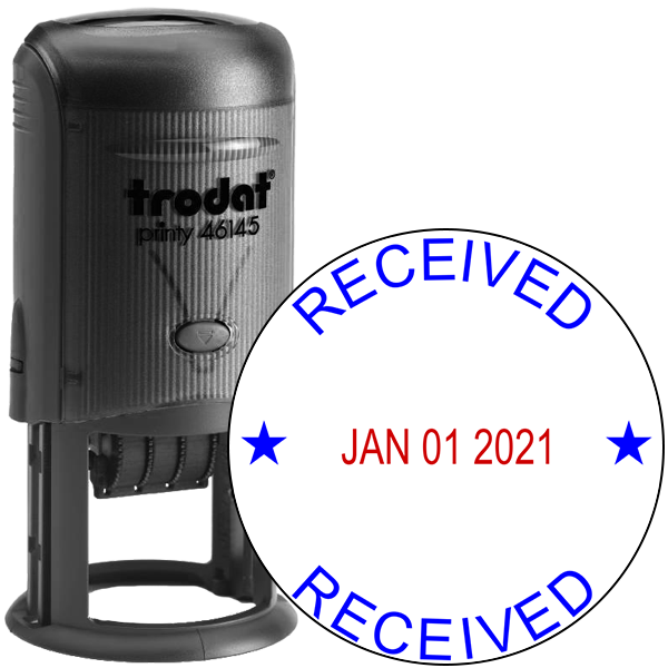 Round Self-Inking Dater Received Stamp