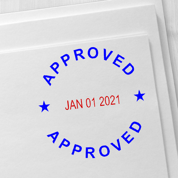 Round Self-Inking Dater Approved Stamp Imprint Example