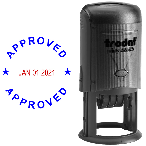 Round Self-Inking Dater Approved Stamp Body and Design
