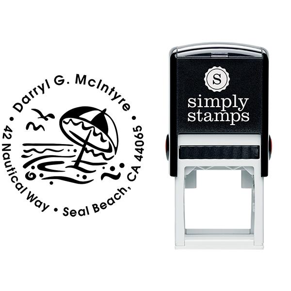 Umbrella Ocean Scene Address Stamp Body and Design