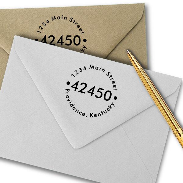 Round ZIP Address Imprint Example on Paper