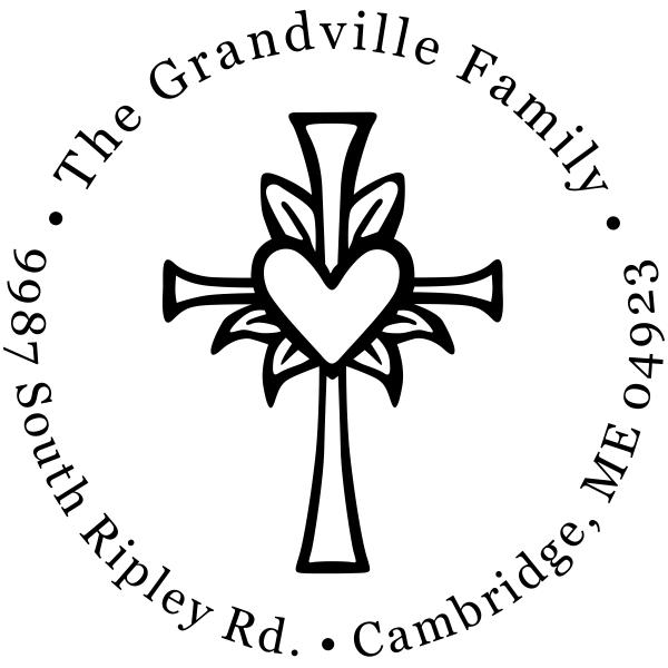 Easter Heart Cross Return Address Stamp
