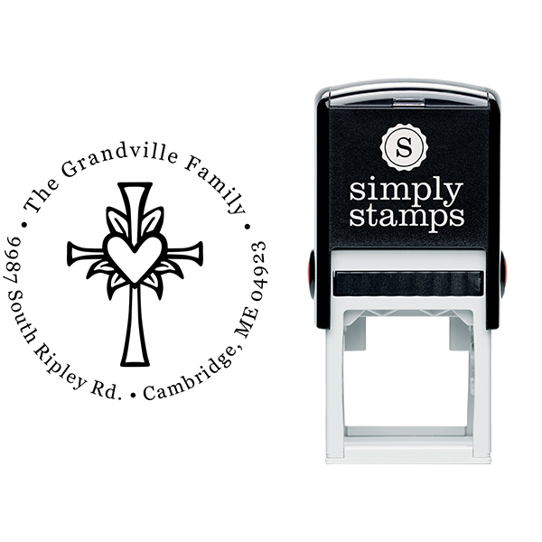 Lily Cross Heart Address Stamp Body and Design