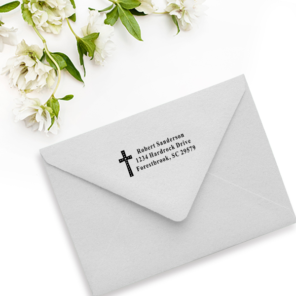 Oval Easter Cross Address Stamp Imprint Example