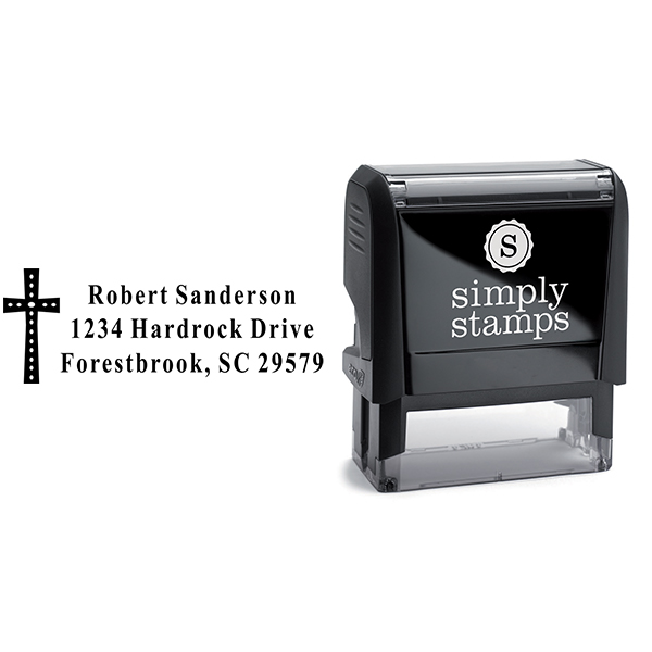 Oval Easter Cross Address Stamp Body and Design