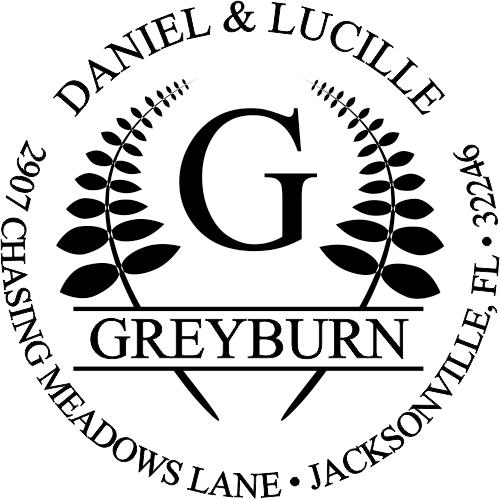 Emblem round rubber address stamp