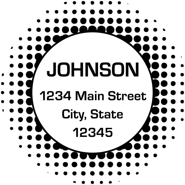 Halftone Circle Custom Address
