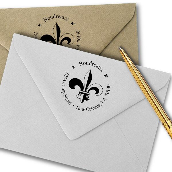 Fleur de Lis Return Address Stamp Imprint Examples on Envelopes