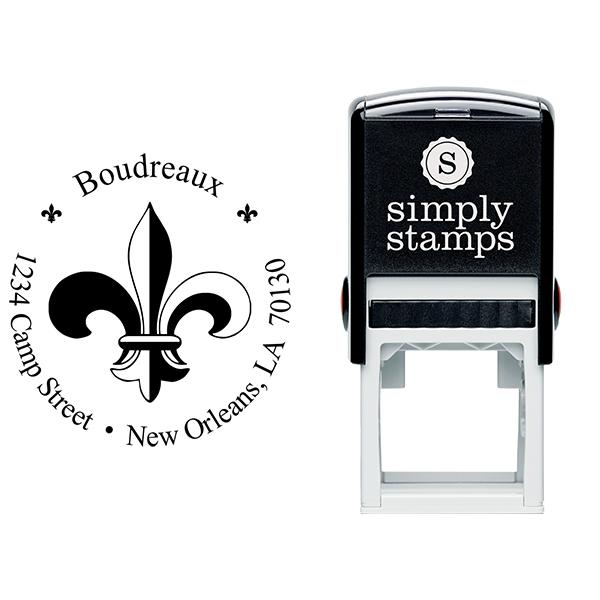 Fleur de Lis Return Address Stamp Body and Imprint
