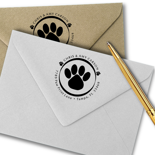 Paw Print Round Address Stamp Imprint Examples on Envelopes