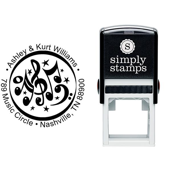 Music Circle Round Address Stamp Stamp Body and Imprint
