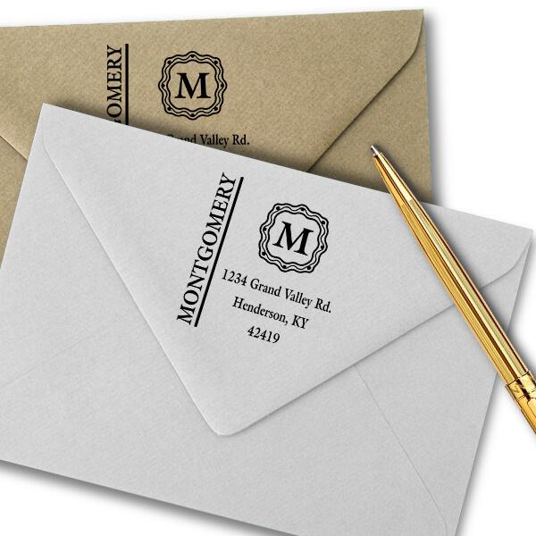Montgomery Monogram Address Stamp Imprint Example