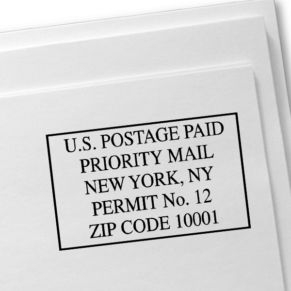 US Postage Paid Priority Mail Stamp Imprint Example