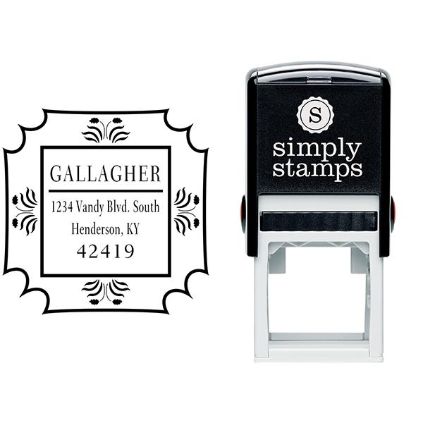 Gallagher Flower Border Address Stamp Body and Design