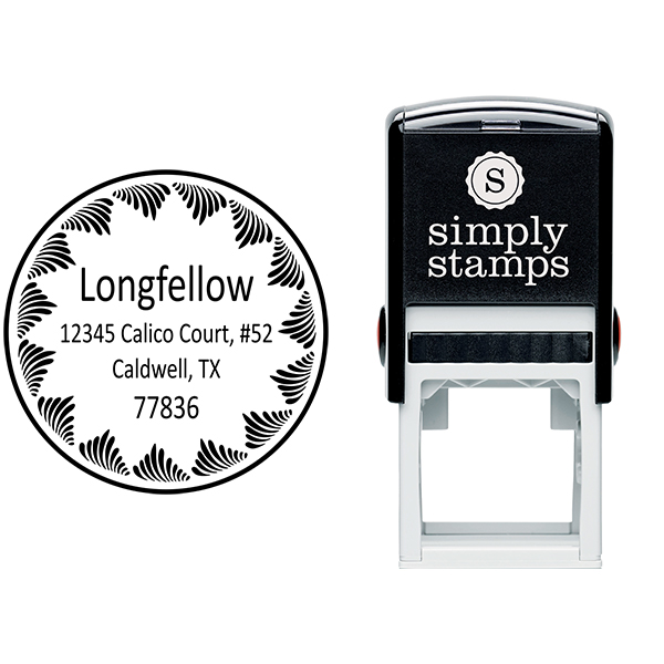 Longfellow Swirl Border Address Stamp Body and Design