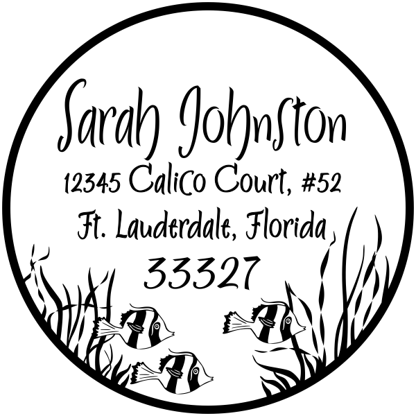 underwater round border address stamp