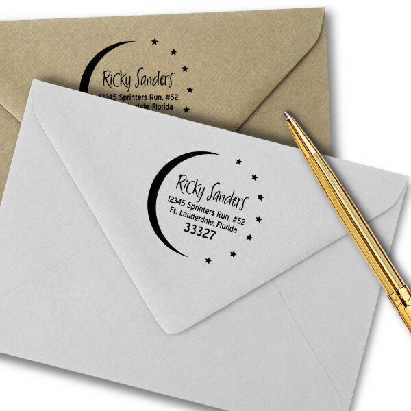 Moon and Stars Return Address Stamp Imprint Example