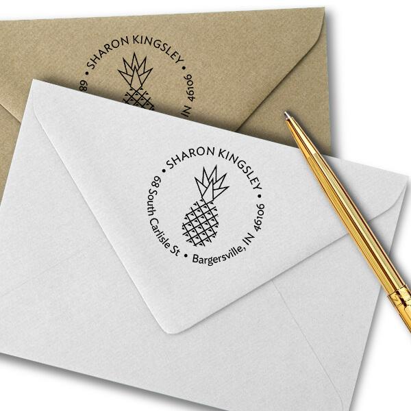 Kingsley Pineapple Address Stamp Imprint Example