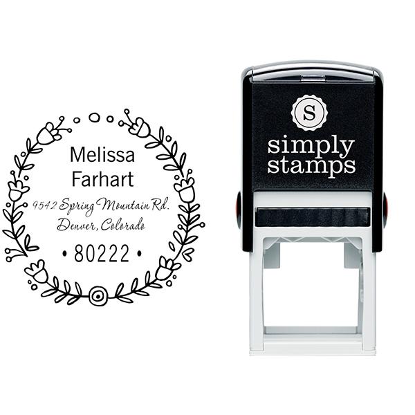 Flower Wreath Address Stamp Body and Design