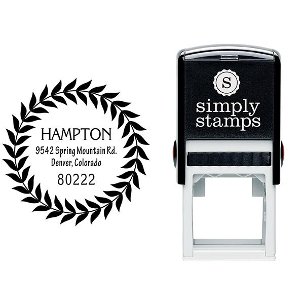 Hampton Leaf Wreath Address Stamp Body and Design
