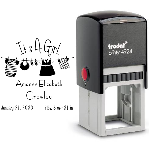It's A Girl Clothes Line Rubber Stamp Body and Design