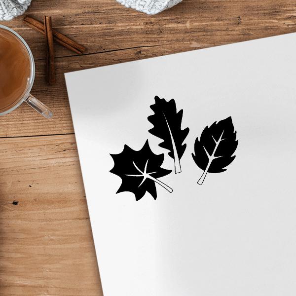 Three Leaves Craft Stamp Imprint Example