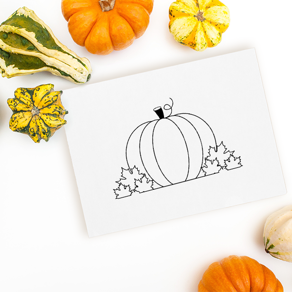 Pumpkin and Leaves Craft Stamp Imprint Example