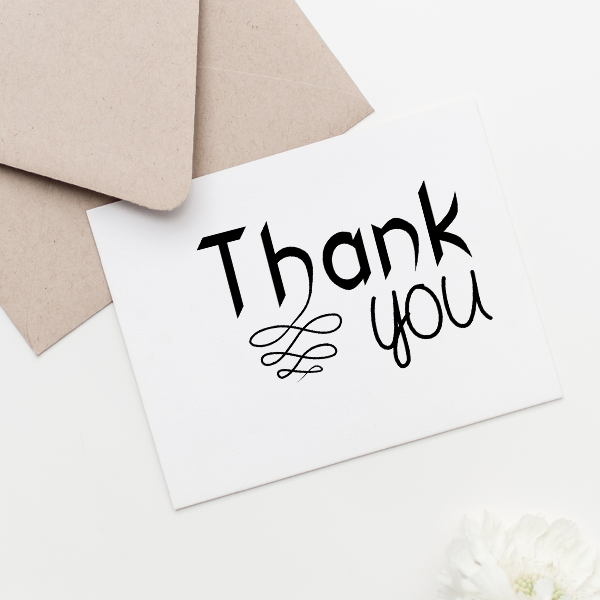 Thank you Fancy Craft Stamp Imprint Example