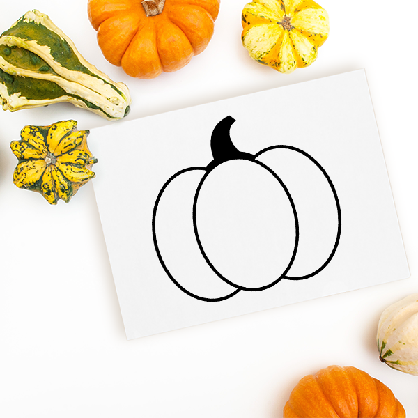 Large Round Pumpkin Craft Stamp Imprint Example