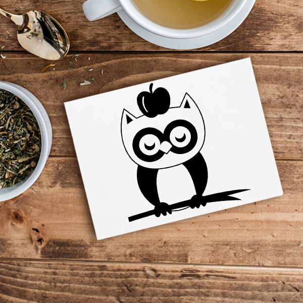 Owl on a Branch with Apple Craft Stamp Imprint Example