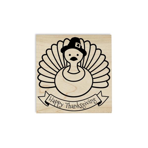 Happy Thanksgiving Pilgrim Turkey Craft Stamp Body and Design