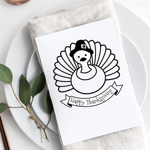 Happy Thanksgiving Pilgrim Turkey Craft Stamp Imprint Example