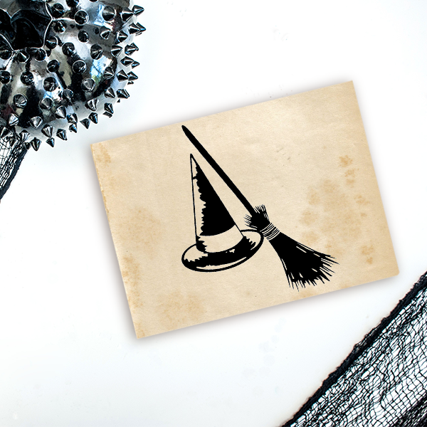 Witch's Hat and Broom Craft Stamp Imprint Example