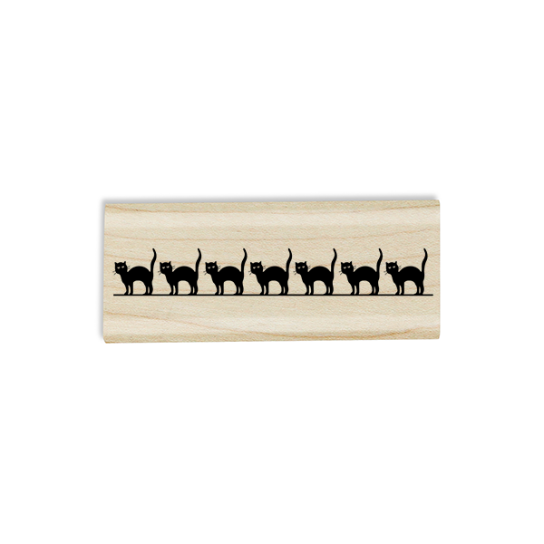 Line of Black Cats Craft Stamp Body and Design