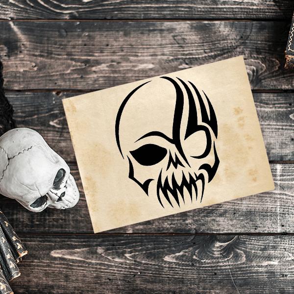Gothic Skull Craft Stamp Imprint Example