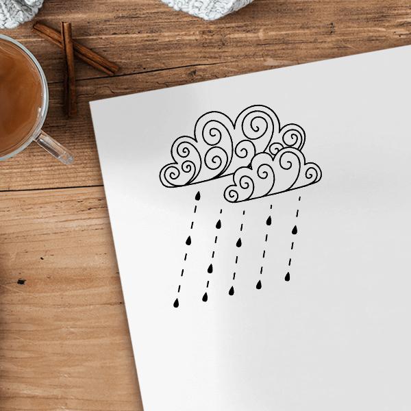Fall Rain Storm Craft Stamp Imprint Example