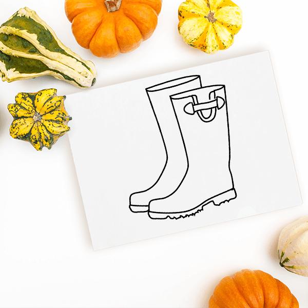 Rain Boots Craft Stamp Imprint Example
