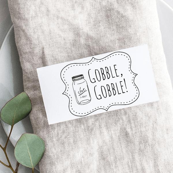 Gobble Gobble! Mason Jar Craft Stamp Imprint Example